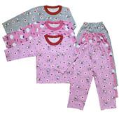 Пижамы хлопковые, без начеса девочкам от 70 до 110 см