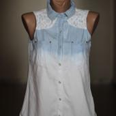 блузка джинс с гипюром