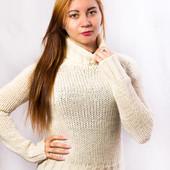 Вязаный свитер женский с высоким горлом Naf Naf (M)