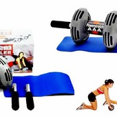 Тренажер для тела Power Stretch Roller. Тренажер колесо двойного действия
