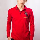 Поло с длинным рукавом мужское ASK enquired, красное (M)