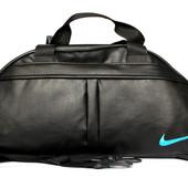 Спортивная сумка черного цвета с голубым логотипом (Nike blue)