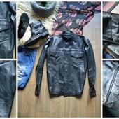 Стильная мужская кожаная рубашка-куртка,р-р М-Л