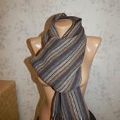 Лаконичный двусторонний вязаный теплый мужской шарф в модную полоску