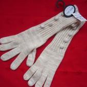 Новые длинные перчатки Matalan,белые с золотистой нитью