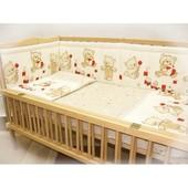 """Комплект постельного белья и бортики в кроватку новорожденного- """"Мишки игрушки"""""""