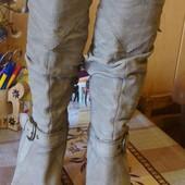 сапоги кожаные  бежевые демисезонные Guess Размер 38 стелька 25,5 см.
