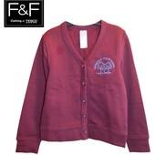 Кардиган кофта F&F Tesco Англия школьный бордовый с вышивкой на байке на 6-7 лет рост 122 см