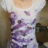 футболка бело-фиолетовая Clockhouse  Размер S 100%котон