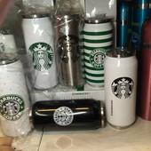 Термокружка Старбакс «Starbucks Coffee».Не течет, тепло держит.Черная, белая и метал