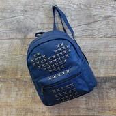 Стильный синий женский рюкзак с заклепками купить недорого