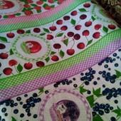 Ткань, рогожка набивная,розовые розы,маки,рябина,подсолнухи, розница!