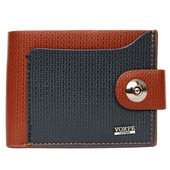 Мужской компактный кошелек коричнево-синий (54221)