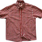 Мужская рубашка в клетку красная яркая George L