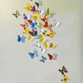 Интерьерная наклейка на стену бабочки 3д 3D