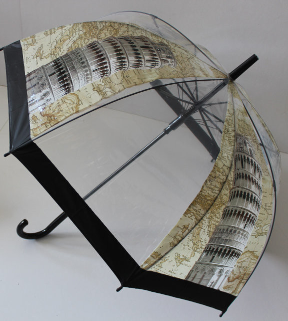 Детский /подростковый прозрачный зонт трость для мальчика и девочки фото №1