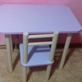 Яркий  детский стол 40*60, высота 50 см и 1 стул. Цвет лаванда
