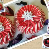 Бантик на заколке для девочки красный с белым резинка для волос нарядный бант