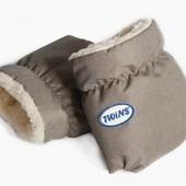 Перчатки меховые муфты для рук на коляску Twins