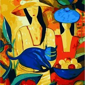 Картина по номерам Turbo Дамы в шляпах и кот VP416new