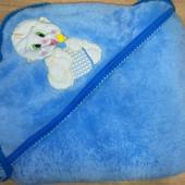 Детское полотенце уголок голубое велсофт