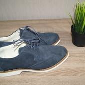 (43р.) Borelli! Италия! Замша! Стильные туфли, крутые синие оксфорды