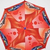 Детский новый зонтик трость для мальчика подростка оранжевый с машинами и мотоциклами
