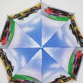 Детский новый зонтик трость для мальчика подростка голубой с машинами и мотоциклами
