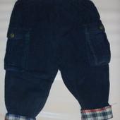 вельветовые штаны на х.б подкладке на 6-9 мес