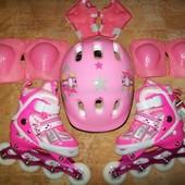 Раздвижные ролики 30-33, 34-37 со шлемом и защитой! Розовые, синие