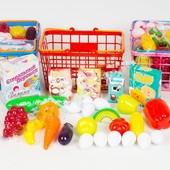 Игрушечные продукты , магазин , набор продуктов в корзине