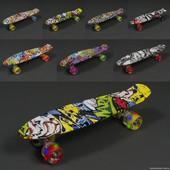 Скейт пенни борд Penny board 820 Граффити+свет колес