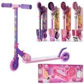 Детский двухколесный розовый самокат для девочки! Большие колеса!