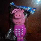 7.телефон свинка пеппа на батарейках укр+10 гр