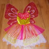 Красивое платье Бабочка для девочки 6-7 лет, 116-122 см