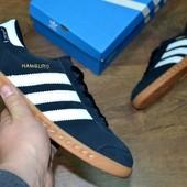 Кроссовки мужские Adidas Hamburg синие адидас гамбург