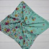 Хлопковый платок цветы мятный