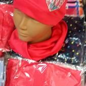 Детский  весенний комплект: шапка с хомутом для девочек 1-2-3 года