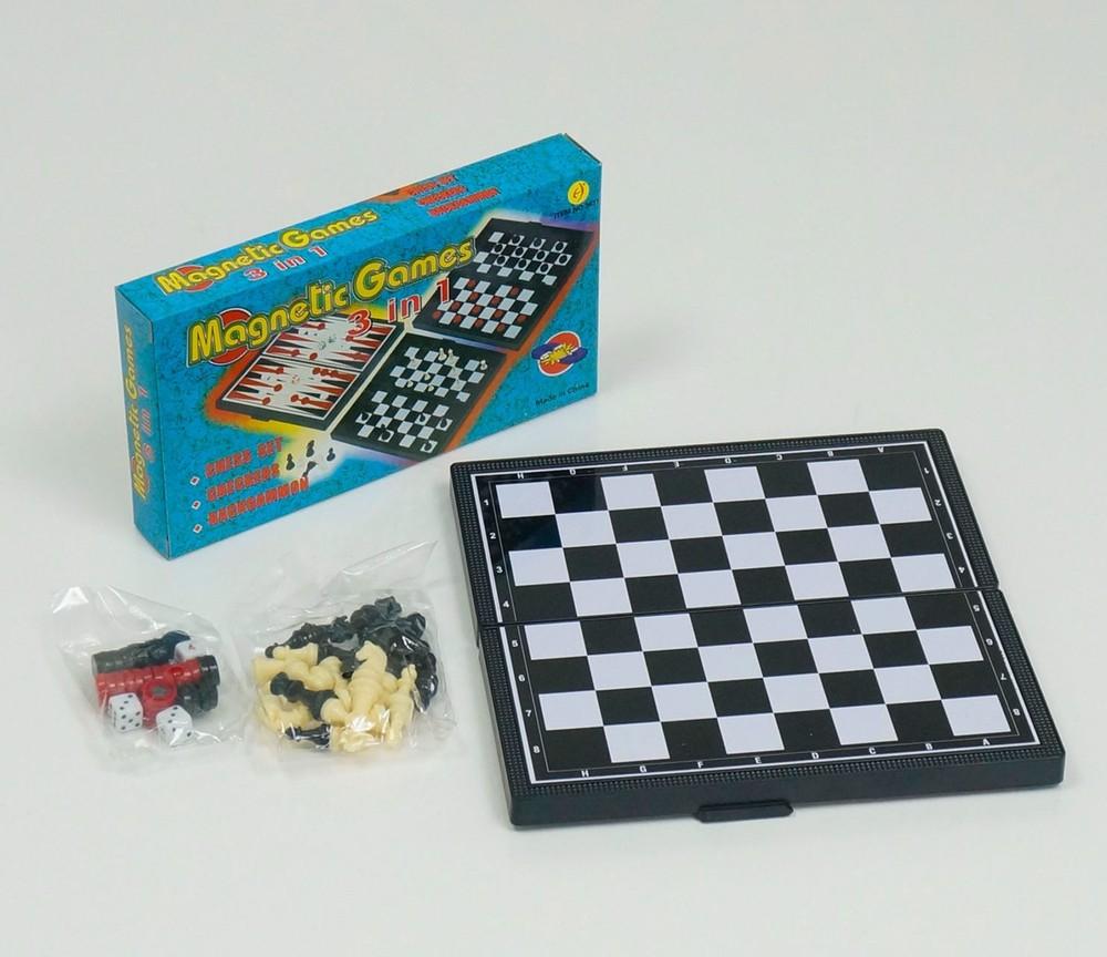 Шашки шахматы нарды 3в1, магнитные, доска 20 х 20см фото №1