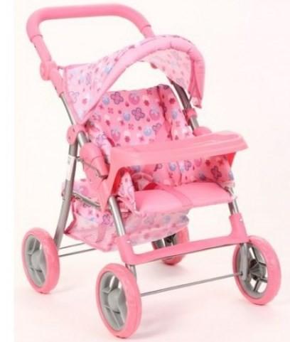 Коляска кукольная летняя розовая со столиком фото №1