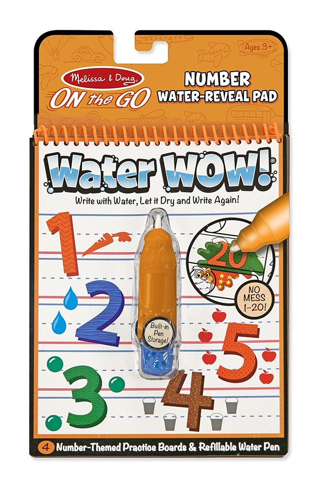 Melissa&doug многоразовая водная раскраска изучаем цифры md5399 on the go water wow numbers book фото №1