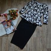 Костюм баска+юбка-карандаш, большие размеры