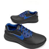 Кожаные Кроссовки чёрно-синие 70D