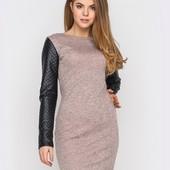 ХИТ! Теплое платье с ангоры с рукавами из стеганной эко-кожи 4 цвета