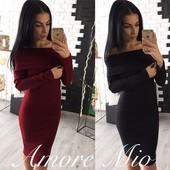 Теплое платье с открытыми плечами ангора рубчик марсала черный красный