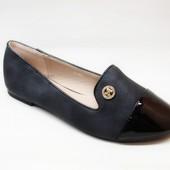 Балетки черные с лаковым носком Т681