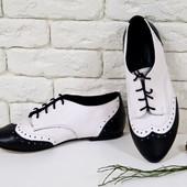 Туфли из натуральной кожи черно-белого цвета.Т-415 черный с белым