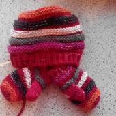 Шапка с рукавичками, варежками комплект холодная весна, осень, теплая зима Новая