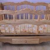 Очень красивая и экологичная кроватка-люлька для малыша+постелька(полный набор)