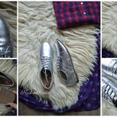 Серебряные туфельки-балетки ATM,р-р 38